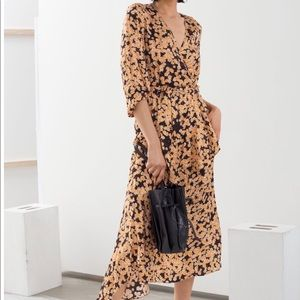 Asymmetrical Floral Midi Dress